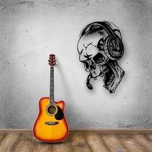 Skull Music Headphones Decal