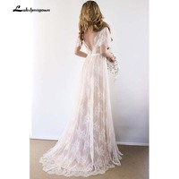Sexy Open Back Bohemian Country Wedding Dress With Cap Sleeves Lace Romantic Bridal Gowns