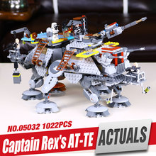 Free Shipping 2016 New LEPIN 05032 Star Wars Captain Rex's AT-TE Mini gifures Building Blocks Brick Toy with  75157 legoe