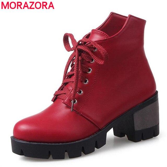 MORAZORA Colegio estilo 2018 primavera otoño tobillo botas mujeres zapatos  de tacones altos botas de gran f4a19092921cd