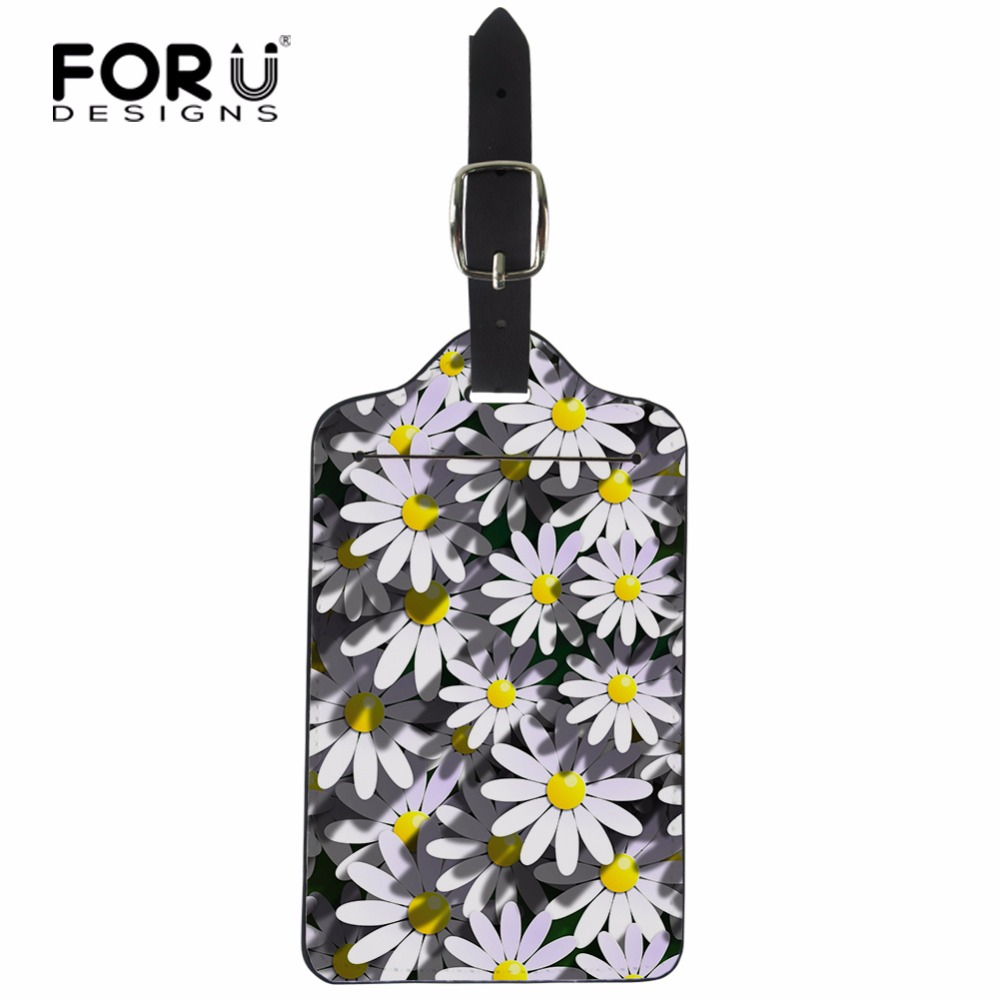 FORUDESIGNS Luggage Bags Accessories Cute Flowers PU Leather Travel Luggage Label ID Card Boarding Suitcase Address Luggage Tags