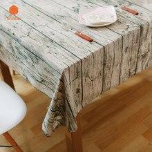 Vintage madera grano grueso mantel de lino de 100% de algodón decoración de la cocina mantel de mesa antideslizante impreso cubierta de la mesa para la foto YN1