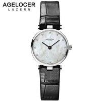 AGELOCER Switzerland Fashion Quartz Watches Women Diamonds Wrist Watch Leather Top Luxury Brand Ladies Dress Clock Female 2017
