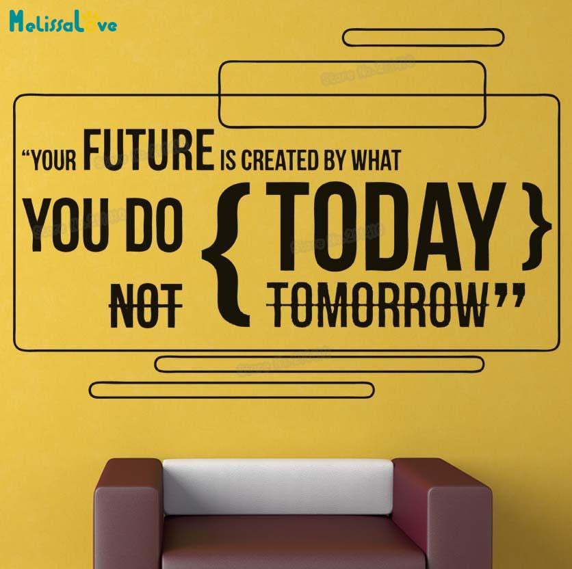 Lnspirational Vinyl Wall Sticker Home Decoration Office Future is Created Today Quote Decals Self-adhesive Art Mural Gift YY782