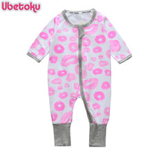 Ubetoku Newborn Baby cotton Clothes Infant Rompers Long Sleeve twins lips Print One Pieces boy girls