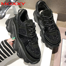 Womens Sneakers 2019 Trainers Platform Wedges Chunky Black Women Casual Shoes Woman Baskets chaussures femme
