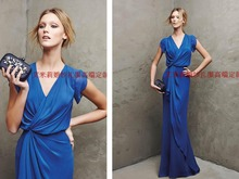 new arrival sleeves Formal Evening gown 2015 hot sexy v-neck sheath blue chiffon long party evening Dress elegant vestidos