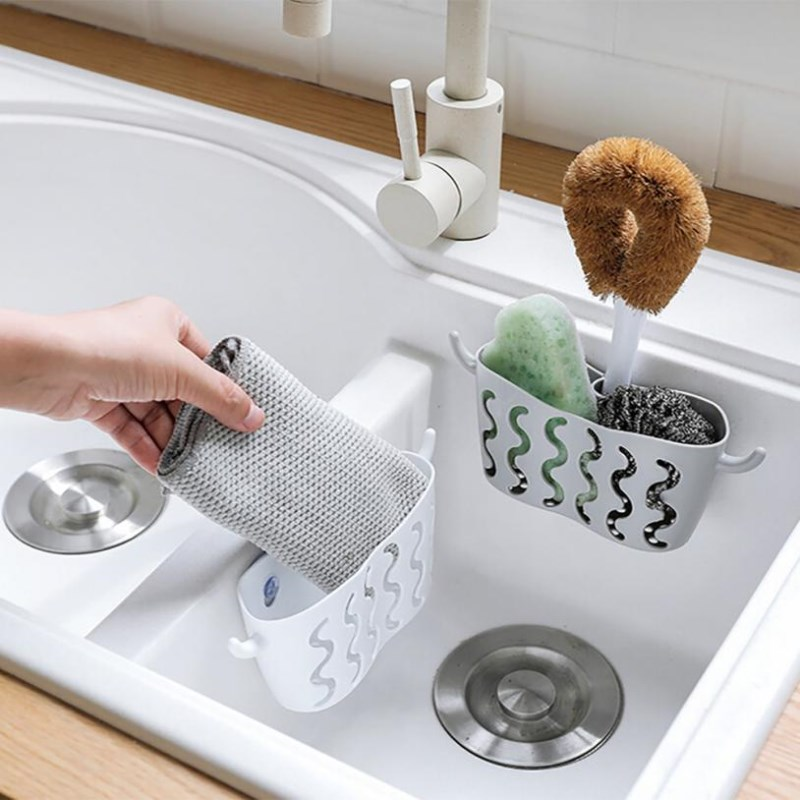 Dish Cloths Rack Suction Sponge Holder Clip Rag Storage Rack Punch-free Suction Cup Storage Hanging Basket Sponge Drain