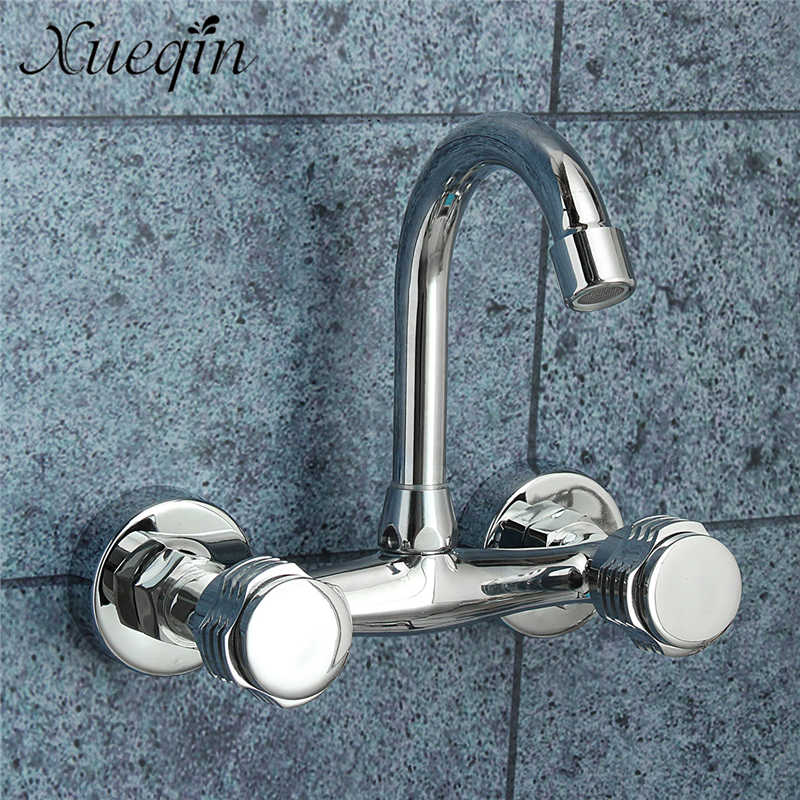 Xueqin Deck Mounted Basin Faucets In Wall Bath Shower Faucets Double Handle Dual Hole Bathroom Sink