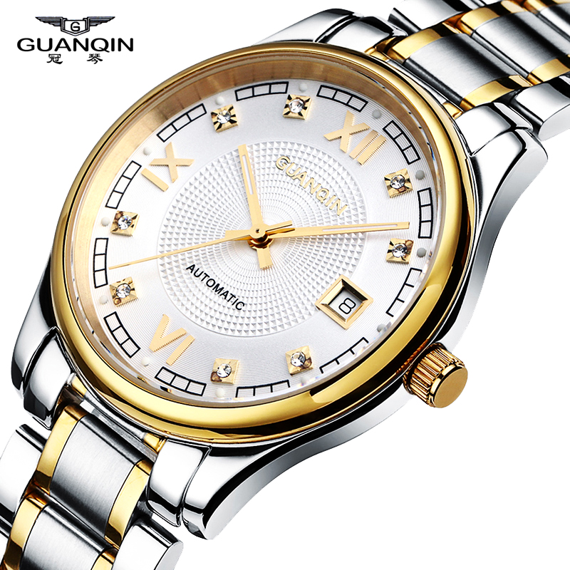 Top Brand Watch GUANQIN Automatic Mechanical Watches Date Sapphire  Waterproof Dress Mens Wristwatches Relogio Masculino Reloj 2017 new sale mechanical man watch relogio masculino gold white watchband automatic date week movt waterproof mans wristwatches