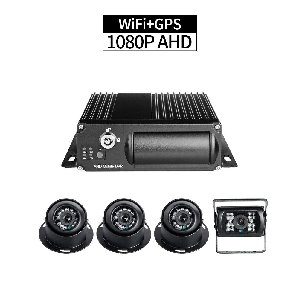 Фабрика Продажа 4 шт. Автобус HD Камера Наборы Wi Fi + gps 4CH SD грузовик мобильный видеорегистратор Mdvr PC/ телефон удаленного наблюдения Велоспорт з