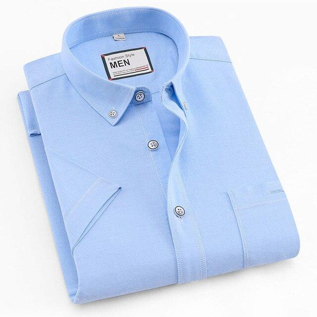 2019 여름 짧은 소매 100% 코튼 옥스포드 쉬운 관리 일반 맞는 솔리드 스트라이프 격자 무늬 비즈니스 남성 캐주얼 셔츠