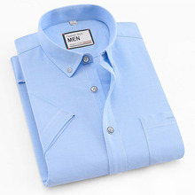 2019 lato z krótkim rękawem 100% bawełna oxford łatwa w pielęgnacji regular fit stałe paski plaid business men casual koszule