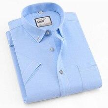 2019 été à manches courtes 100% coton oxford facile dentretien coupe régulière solide rayé plaid affaires hommes chemises décontractées