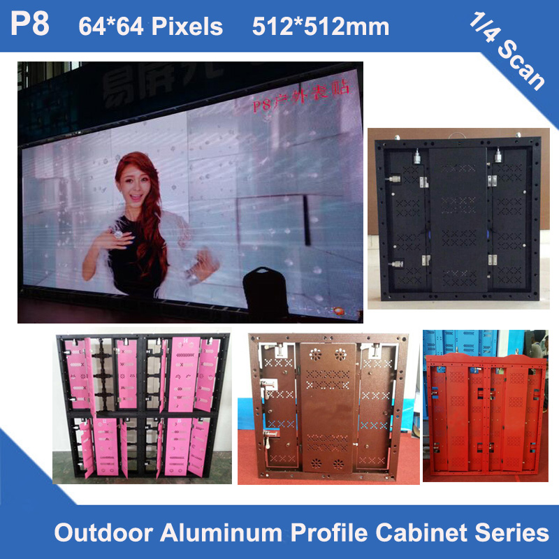 TEEHO P8 Aluminum Profile Cabinet 512mm*512mm 64*64 Dots 1/4 Scan Rental Ultra Slim Led Idsplay Screen Sign Panel  Video Wall