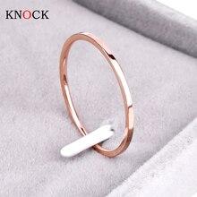 Knock(1,2 мм) продвижение титановая сталь розовое золото цвет анти-аллергическое гладкое обручальное кольцо для пары женские мужские модные ювелирные изделия