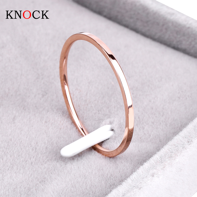 Knock ( 1.2 MM ) Promotion Titanium Steel Rose Gold Color Anti-allergy Smooth Couple Wedding Ring Woman Man Fashion Jewelry