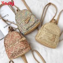 Straw Weave Women Backpacks Bohemian Style Female Casual Daypack School Book Bag Teenager Girl Student Bags Mini Lady Rucksack