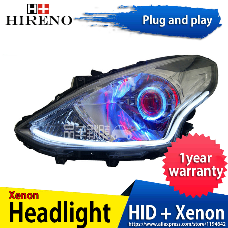 Car custom Modified Xenon Headlamp for Nissan sunny Almera Versa 2014-16 Headlights Assembly Car styling Angel Lens HID 2pcs hireno headlamp for mercedes benz w163 ml320 ml280 ml350 ml430 headlight assembly led drl angel lens double beam hid xenon 2pcs