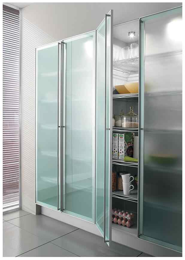 Popular Customized Aluminum Frame Kitchen Cabinet Glass Doors Available In Different Colors