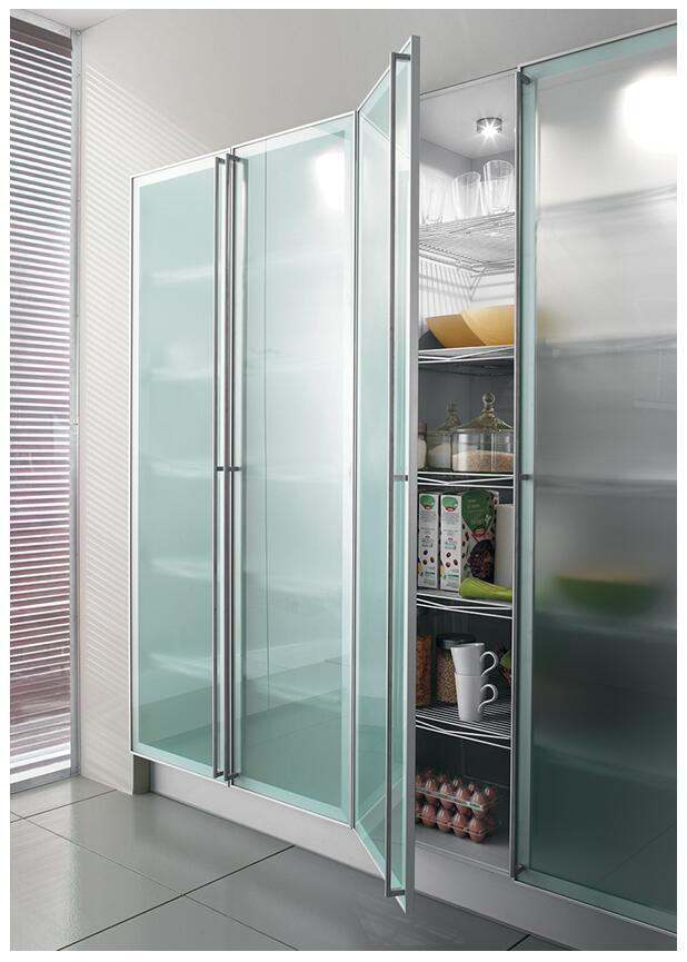 Popular Customized Aluminum Frame Kitchen Cabinet Glass