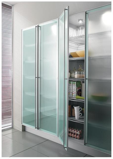 Popular Customized Aluminum Frame Kitchen Cabinet Glass