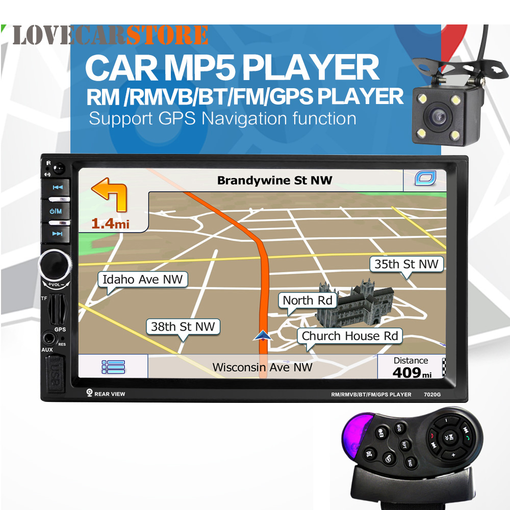 7 Inch 2 Din Bluetooth Car Stereo Multimedia MP5 Player GPS Navigation FM Radio + Auto Rear View Camera + Steering Wheel Control 2 din car radio stereo mp5 mp4 player 6 6 inch touch screen rear camera dvr input fm steering wheel control bluetooth video