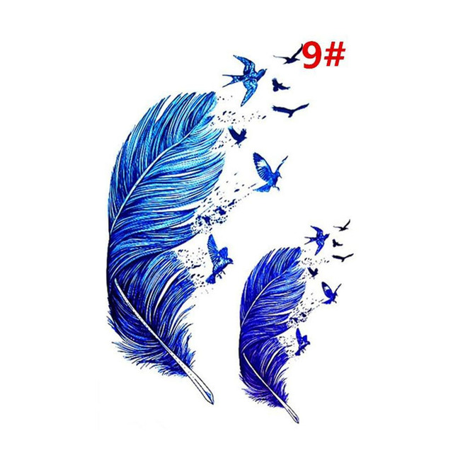Sale New Sweet Blue Feather Flower Arm Back Temporary Stickers Female Men Couple Disposable Tattoo Stickers Fashion Body Art 4