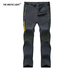 THE ARCTIC LIGHT Men Outdoor Windproof Waterproof Softshell Fleece Snow Pants Camping Hiking Pant Thermal Autumn Winter Trousers tactical military softshell winter fleece pants men outdoor sports thermal windproof lightweight breathable trousers urban