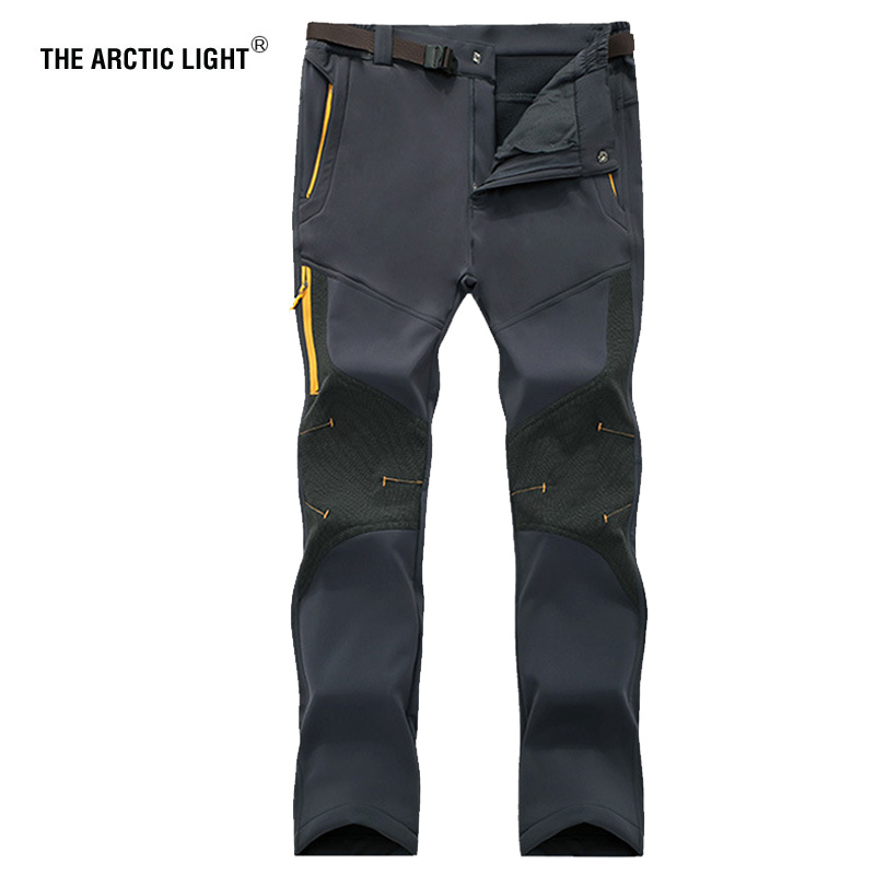 THE ARCTIC LIGHT Men Outdoor Windproof Waterproof Softshell Fleece Snow Pants Camping Hiking Pant Thermal Autumn Winter Trousers