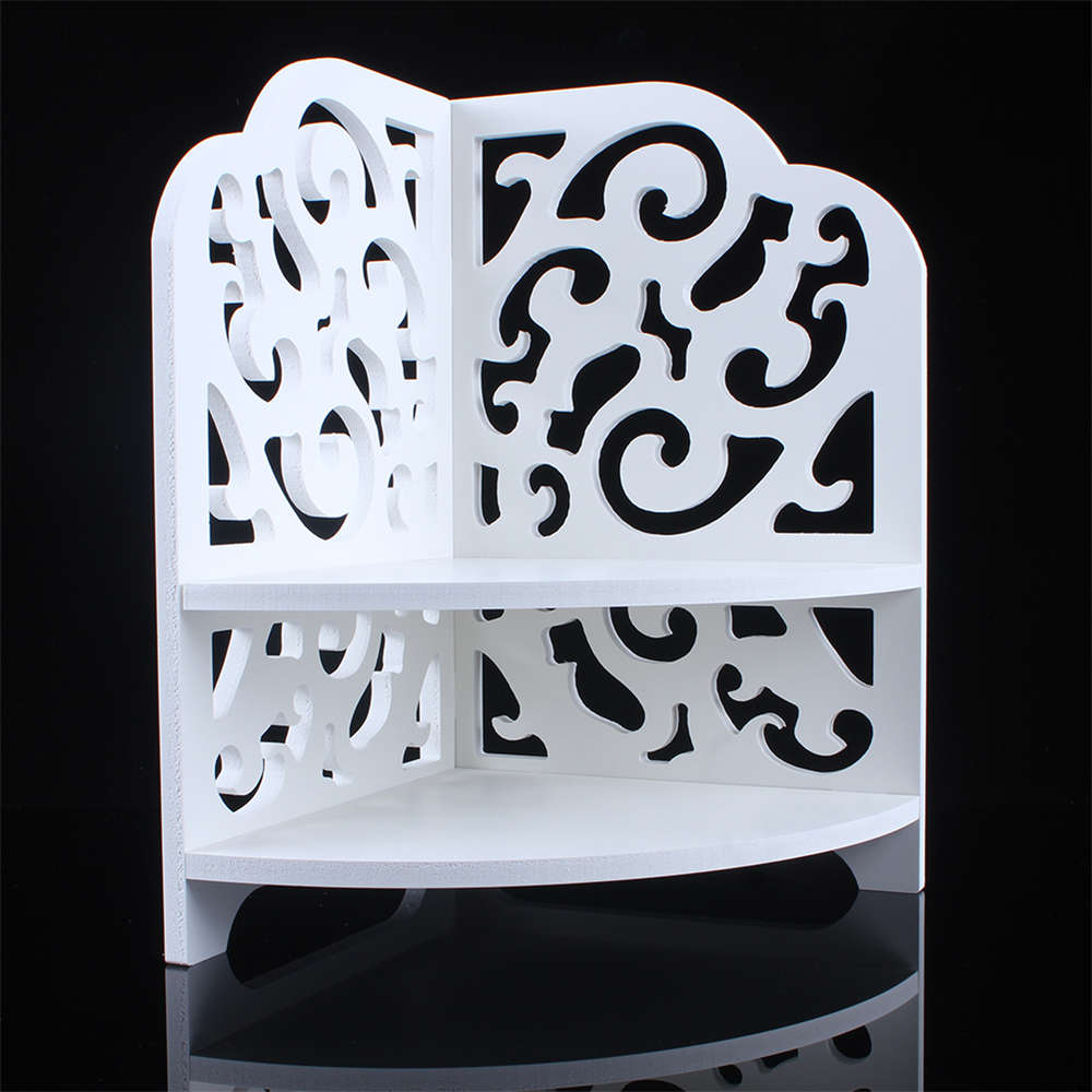 White Baroque Small Corner Bath Den Office Desktop Finishing Storage Rack Wood Carving Bathroom Shelf Home Furniture Decorative