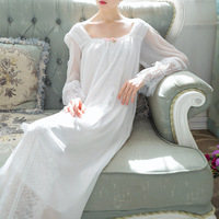 Vintage Autumn Spring Nightgown Home Dress White Cotton Chiffon Sleepwear Pink Sleepshirts Long Night Gown Plus Size