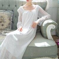 Vintage Autumn Spring Nightgown Home Dress White Cotton Chiffon Sleepwear Pink Sleepshirts Long Night Gown Plus Size
