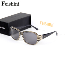 FEISHINI High Quality Acetae Frame Strong Sunglasses Luxury Earth Tones Massiness Fangle Rectangle Glasses Polarized Polaroid