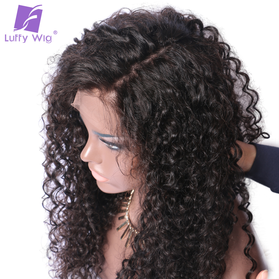 Luffy Curly Deep Parting 13×6 Lace Front Human Hair Wigs With Baby Hair For Black Women Malaysian Hair Natural Color 24inches