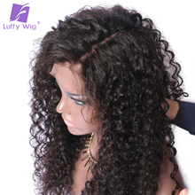 Luffy Curly Deep Parting 13×6 Lace Front Human Hair Wigs With Baby Hair For Black Women Malaysian Non Remy Hair Natural Color