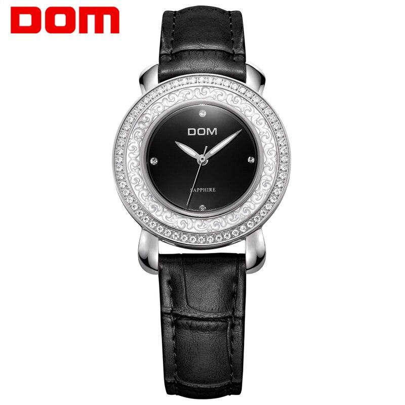 Women Watch DOM Leather luxury brand wristwatch waterproof style sapphire crystal woman quartz nurse  reloj feminin G-86L-1M dom women luxury brand watches waterproof style quartz ceramic nurse watch reloj hombre marca de lujo t 558