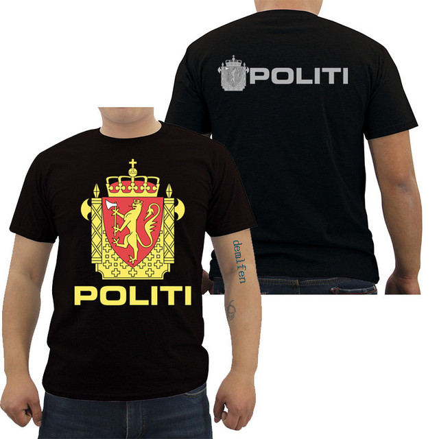 cf394df74dc New Norway Politi Police Norwegian T Shirt Mens Cotton O-Neck Short Sleeve  Shirts Army Casual Shirts Cool Tees Tops
