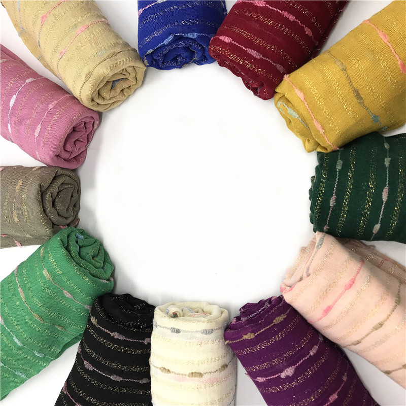 Muslim women solid scarf hijabs cotton colorful stripes gold thread plain basic wraps fashion foulard viscose