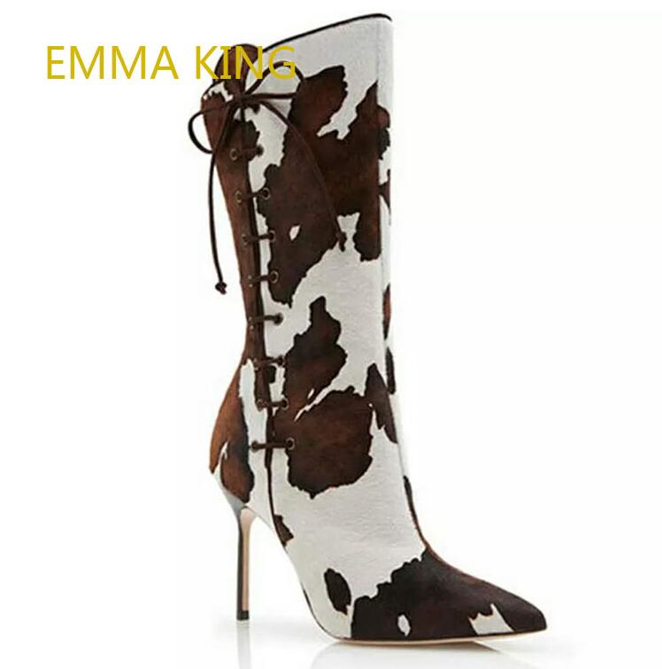 New Horsehair Cow Print Boots European Brand Design High Heels Shoes Woman Lace Up Mid-Calf Pointed-Toes Boots Women 2019New Horsehair Cow Print Boots European Brand Design High Heels Shoes Woman Lace Up Mid-Calf Pointed-Toes Boots Women 2019