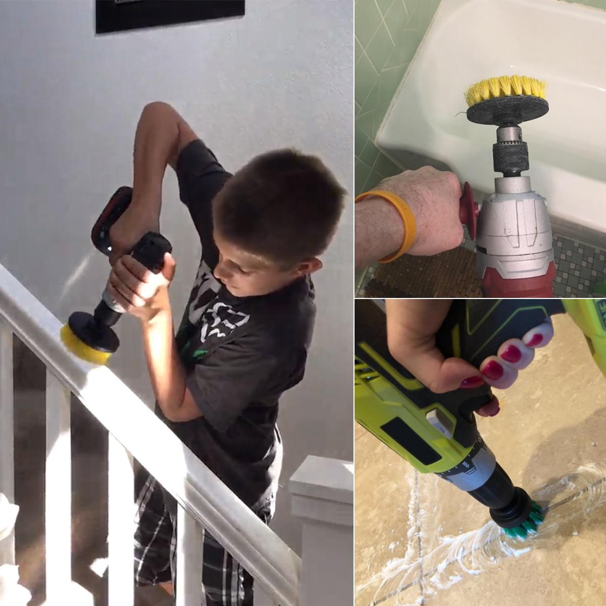 Купить с кэшбэком 2 Sets 3 pcs/set Power Scrubber Brush Drill Brush Clean for Bathroom Surfaces Tub Shower Tile Grout Cordless Scrub Cleaning Kit
