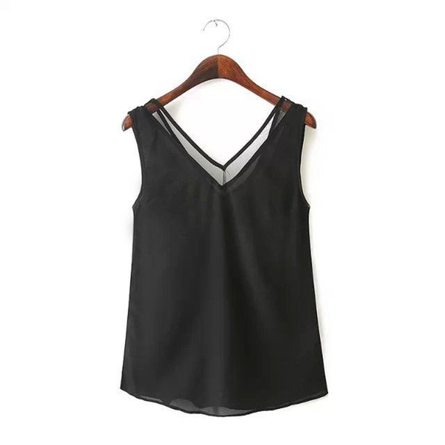 V Neck Chiffon Sleeveless Tank Tops