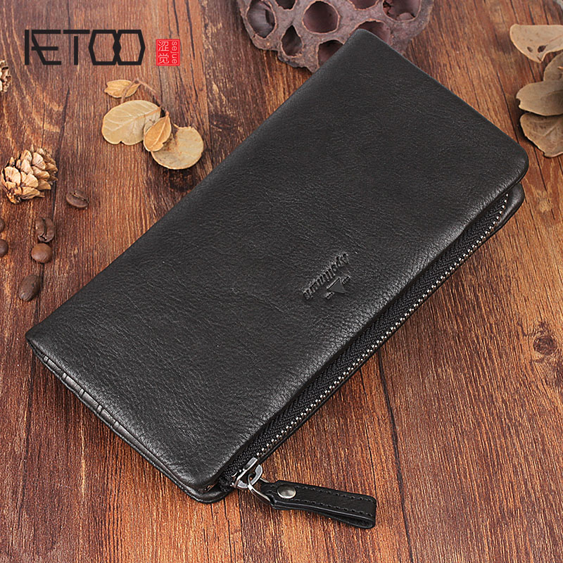 AETOO Original design retro leather long wallet leather multi-card bit wallet removable coin pocket buckle