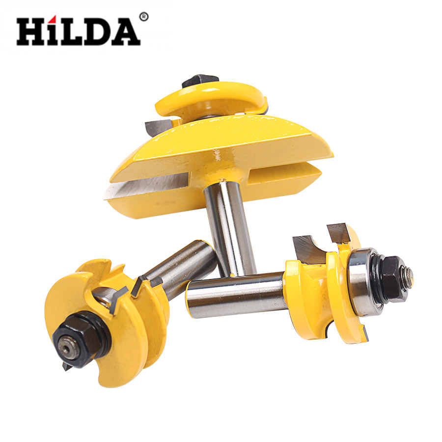 HILDA 3pcs 1/2'' Shank Wood Milling Cutter Round Rail Stile Ogee Blade Router Bits Set Power Tools Door knife Wood Cut round up 1 2 3