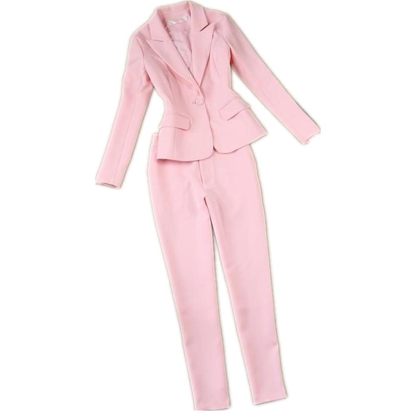 Pink 2 Piece Set For Women Blazer Jacket & Trouser Office Lady Suit