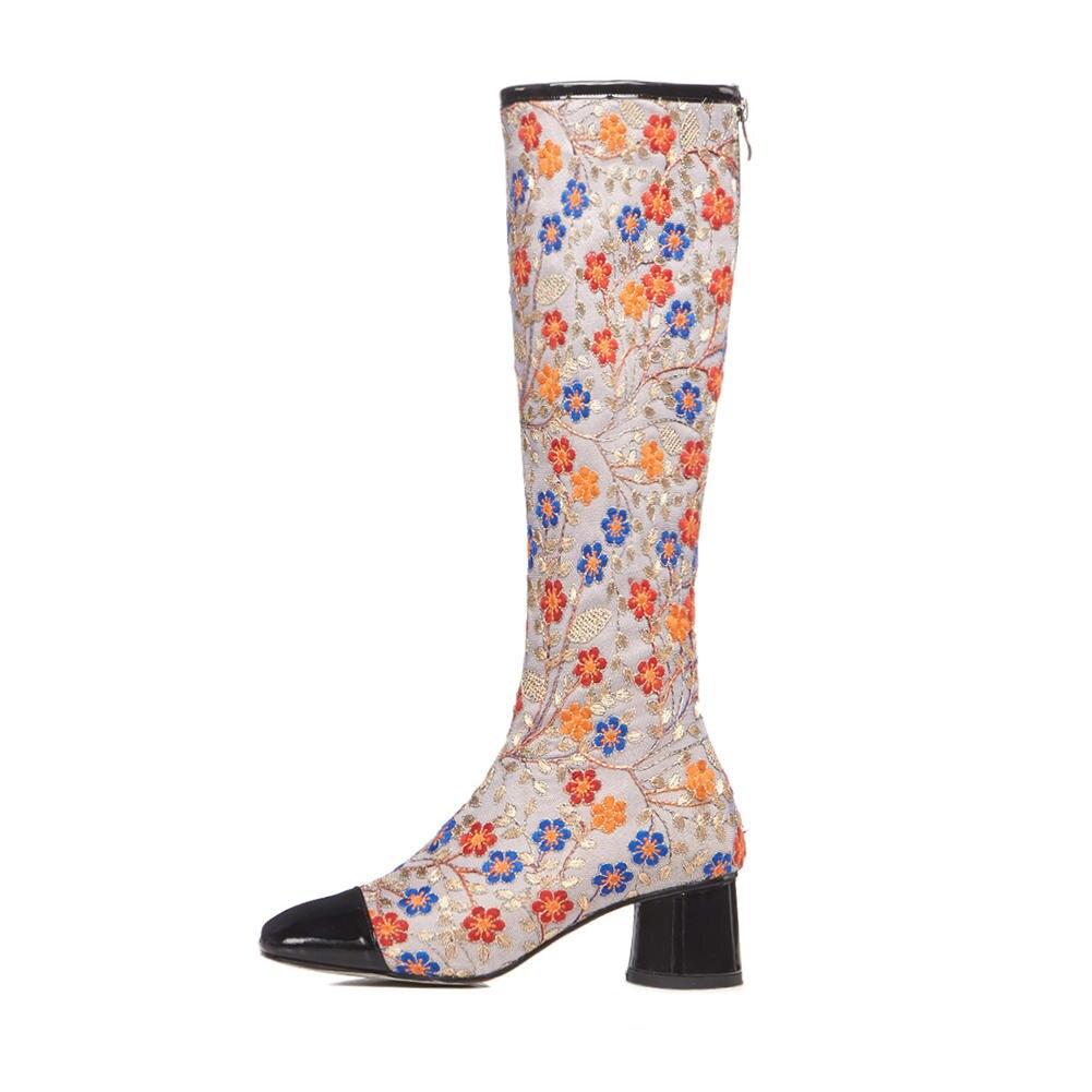 Alto Zapatos De Tacón La apricot Negro 33 Tamaño 2018 Lujo Gran Bordado 42 Marca Botas Rodilla Mujer Diseño Hasta Doratasia Moda O5zqw
