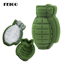 FEIGO 1Pcs 3D Grenades Ice Cube Mold Creative Bar Pub Accessories Tools Green Food Wine Silicone F307