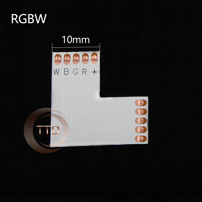 Wholesale 5 X L shape 10mm 5 Pin 5050 RGBW LED Strip Corner Connector,   PCB Board splitter connector