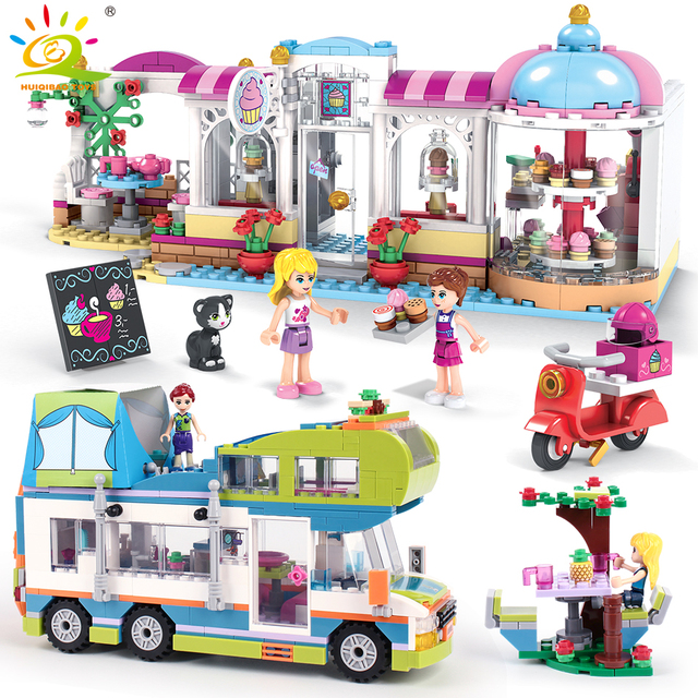 City Cake Store Camper Car with Girls Figures Building Blocks Compatible Friends Bricks Educational Toys for Children