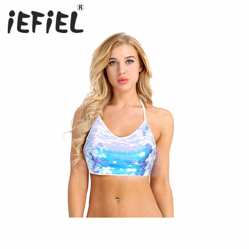 iEFiEL Fashion Women Sequins Backless Sleeveless Halter Strappy Rave Crop Top Dance Festival Clubwear Beach Party Crop Tank Tops